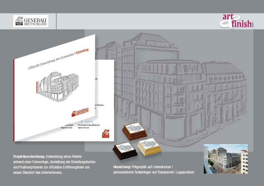 Entwicklung eines Reliefsanhand einer Fotovorlage, Gestaltung der Einladungskarten und Pralinenpräsente