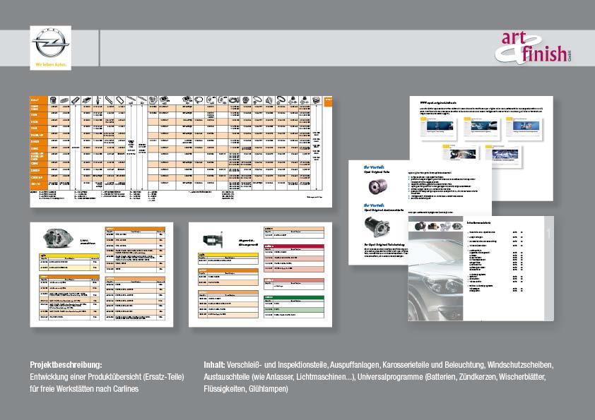 Entwicklung einer Produktübersicht (Ersatz-Teile) für freie Werkstätten nach Carlines
